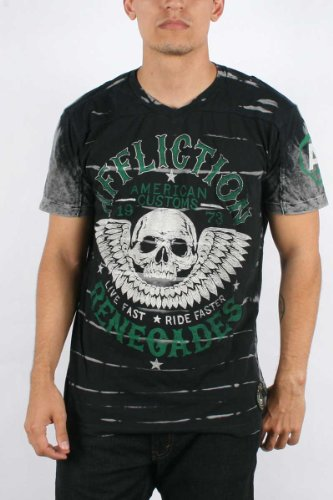 Affliction - Mens Ac Renegades SS V-Neck T-Shirt In Black Blind Wash, Size: Small, Color: Black Blind Wash