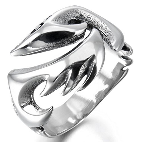 Men'S Stainless Steel Ring Band Silver Phoenix Bird Firebird Gothic Size10