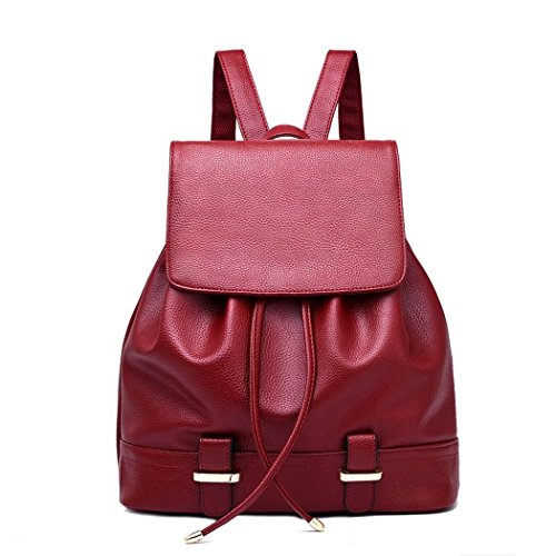 Ryse Womens Fashionable Classic Simple Exquisite Backpack Students Leisure Bag(Red)