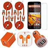 Boost Mobile ZTE Max Orange Celkits-8 Original Bundle (Includes: 3amp Dual USB Car Plug, Dual USB Home Charger, HD Headset & Screen Guard)