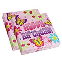 Pink Happy Birthday Lunch Napkin, Butterfly Birthday Party Napkins (80 Count)