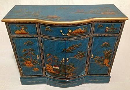 Azul Moteada Lacado Pintado A Mano Arte Aparador Oriental Muebles China