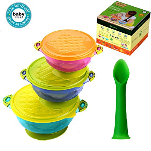 Baby Bowls and Spoons - Spill Proof Stay Put Suction bowls with Lids - BPA Free Feeding Plates Dishes Set - Stackable Storage Food Utensils and Dinnerware - Best for Babies and Toddlers - 3 Count (Snack Bowl With Snap Lid compare prices)