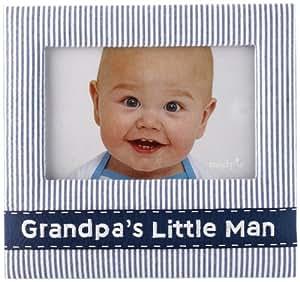 Mud Pie Baby Lil' Buddy Navy Blue Seersucker Fabric Photo Frame, Grandpa's Little Man (Discontinued by Manufacturer)