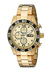 Invicta Specialty Men's Quartz Watch with Gold Dial Chronograph Display and 18K Gold Plated Stainless Steel Bracelet 1016