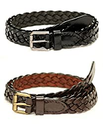 Tops Combo of 2 Braided Leather Belts For Women