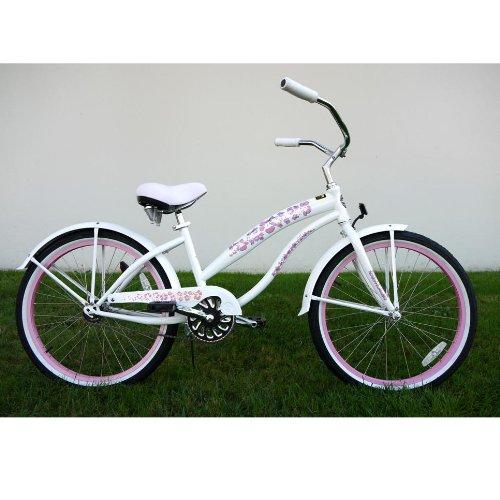 Kids Bikes Pearl White Girls Beach Cruiser 24 inch Extended Frame