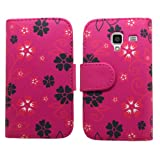 Samrick Executive Floral Flowers Specially Designed Soft Leather Book Wallet Case with Credit Card/Business Card Holder for Samsung i8160 Galaxy Ace 2 - Pink/Black