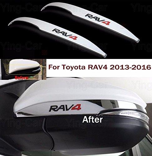 2pcs Chrome Rearview Side Mirror Cover Trim Strip Emblems Custom Fit Toyota RAV4 2013 2014 2015 2016 (Custom Toyota Emblem compare prices)