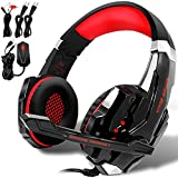 KOTION EACH GS900 Gaming Headset for XBOX 360 One PS3 PS4 PC Computer Laptop Mobile Phones, AFUNTA Over Ear Playstation 4 Headphone With Mic 3.5mm Revolution Volume Control Noise Canceling--Black/Red