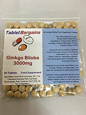 Tablet Bargains - Ginkgo Biloba 3000mg 180 Tablets from Tablet Bargains