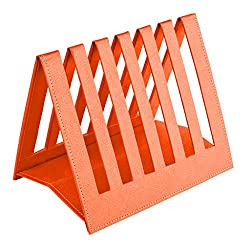 Eco friendly Ecoleatherette Handcrafted Magazine Holder, Magaizne Rack Newspaper Holder Newspaper Rack Table Top (Orange)