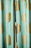 Gold moon & blue silk tafetta curtain/drape