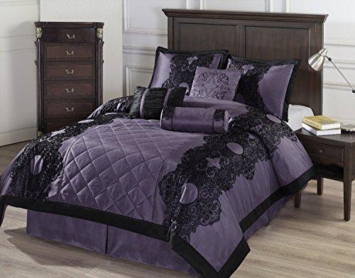 Cozy Beddings Victoria 7-Piece Floral Flocking Comforter Set, California King, Purple/Black