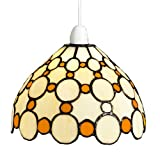Lighting Web Co Glass Easy Fit Bistro Dome with Small Brown Circles Pendant, Beige