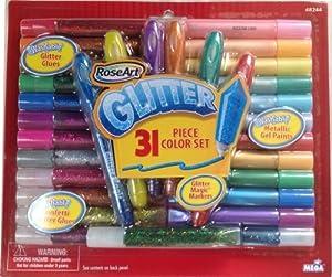 RoseArt 31 Piece Glitter Color Set Metallic Gel Paints, Confetti Glitter Glues and Washable Glitter Glues