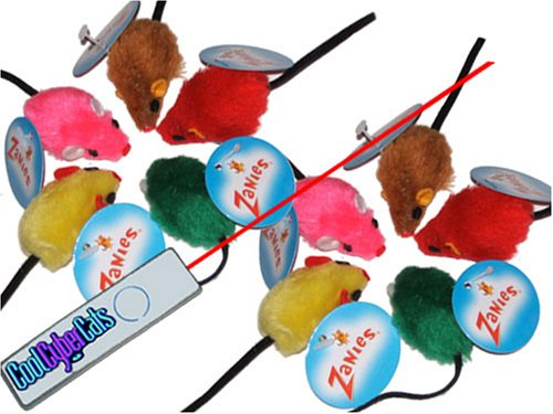 Set of 10 Zanies Rainbow Faux Fur Mice Cat Toys and Cat Laser Pointer Toy