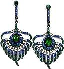 Peacock Feather Crystal Drop Earrings