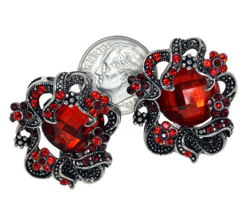 Ornate Art Nouveau Red Ruby Crystal