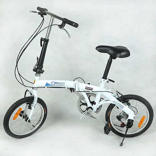 Folding Foldable Fold Bike Bicycle Cycle White 16inch High-carbon Steel