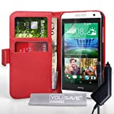 Yousave Accessories HTC Desire 610 Case Red PU Leather Wallet Cover With Car Charger