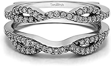 10k Gold Infinity Criss Cross Ring Guard with White Sapphire 032 ct twt