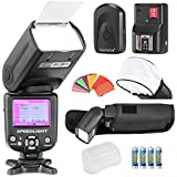 Neewer® NW-985C E-TTL 4-Color TFT Screen Display *High-Speed Sync* Camera Slave Flash Speedlite Kit for Canon EOS 700D/T5i 650D/T4i 600D/T3i 1100D/T3 550D/T2i 500D/T1i 100D/SL1 400D/XTi 450D/XSi 300D/Digital Rebel 20D 30D 60D 5D Mark III 5D Mark II and All Other Canon DSLR Cameras,Include:(1)NW-985C+(1)Universal Mini Flash Bounce Diffuser Cap+(1)35-piece Color Gel Filters+(1)16 Channels Wireless Remote Flash Trigger+(4)LR Battery