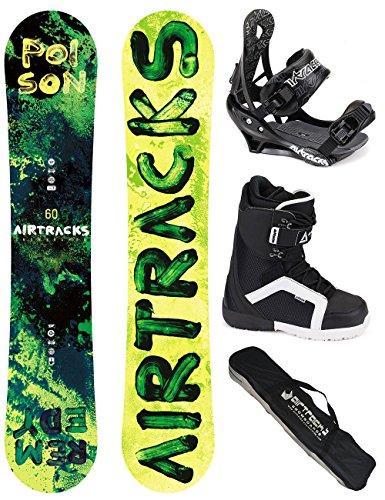 AIRTRACKS SNOWBOARD SET / POISON SNOWBOARD WIDE ROCKER + SOFTBINDUNG SAVAGE + BOOTS + SB BAG / 150 160 / cm