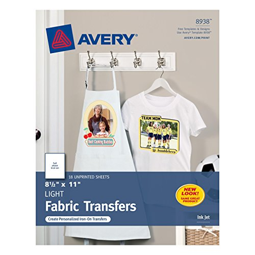 Avery T-shirt Transfers for Inkjet Printers for light-colored, 8.5 x 11 Inches, Pack of 18 (08938) (Photo Fabric Iron compare prices)