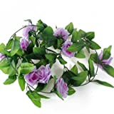 Idealgo 1pcs Artificial Rose Silk Flower Green Leaf Vine Garland Home Wall Party Decor Wedding Garland Outside Decoration (Light purple)