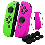 YoRHa Hand grip Silicone Cover Skin Case x 2 for Nintendo Switch/NS/NX Joy-Con controller (dark pink+green) With Joy-Con thumb grips x 8