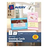 Avery Half-Fold Greeting Cards for Inkjet Printers, 5.5 inches x 8.5 inches, White, Matte, Pack of 20 (03265) ~ Avery