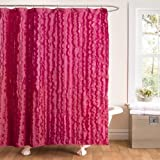 Lush Decor Modern Chic Shower Curtain, 72 by 72-Inch, Pink