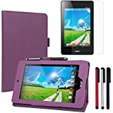 BIRUGEAR Acer Iconia One 7 B1-730HD Case, SlimBook Leather Folio Stand Case for Acer Iconia One 7 B1-730 B1-730HD 7-Inch Android Tablet ( Purple ) + Screen Protector + 3pcs Universal Stylus