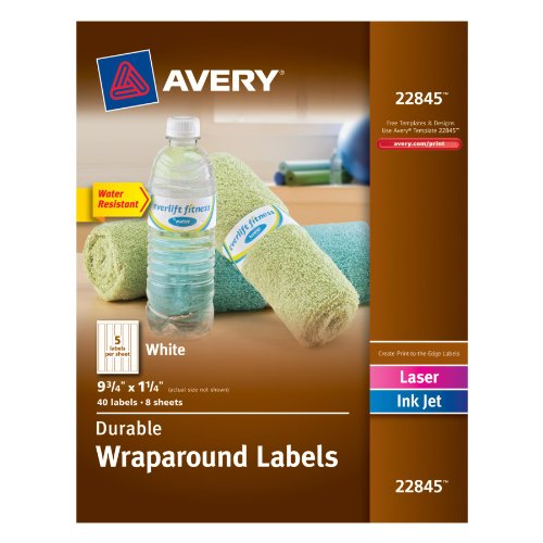 Avery Durable Wraparound Labels, 9.75 x 1.25 inches, White, Pack of 40 (22845) by Avery