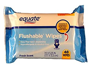 Equate Flushable Wipes 3-pack (48ct ea) Compare to Cottonelle Fresh Flushable Wipes 7.0 x 5.25 IN(17.7x13.3cm) by Equate