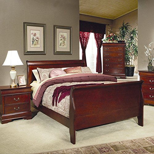 Louis Philippe King Sleigh Panel Bed Red Brown