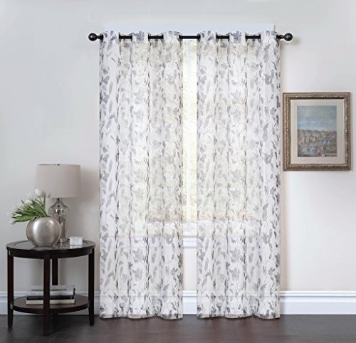 Studio 1012 Window Curtains - Set of Two Sheer Floral Print Grommet Panels 38