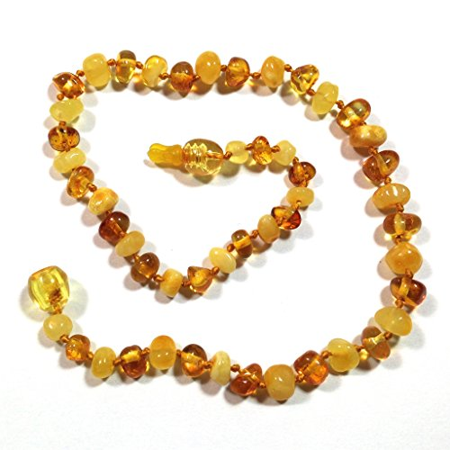 "Hazelaid (TM) 12"" Pop-Clasp Baltic Amber Milk & Honey Necklace (full-polish) - 1"