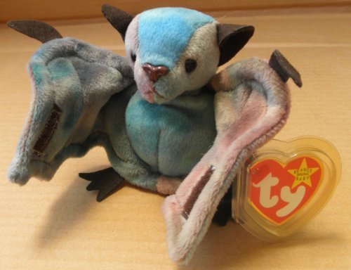 TY Beanie Babies Batty the Bat Plush Toy Stuffed Animal - Brown/Blue - 1