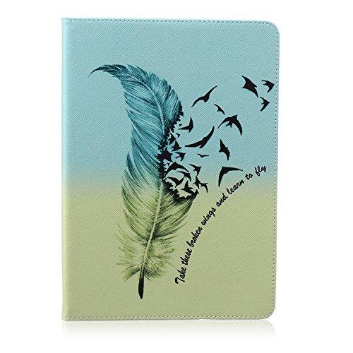 Ukayfe Custodia portafoglio / Flip / wallet / libro in pelle per iPad Air 2 (iPad 6) - Case Cover elegante e di alta qualità con Stand Funzione Stampa creativa e [Magnetic Closure] Con Stilo Penna - Free to Fly-piuma