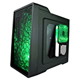 APEVIA X-ENERQ-GN Micro ATX /Mini ATX Gaming/HTPC Case, Supports Video Card up to 290mm/ATX PS, 1 x Window, USB3.0/USB2.0/HD Audio/SD/Micro SD Ports, 2 x 120mm Green LED fans, Dust Filter – Green (Color: Green)