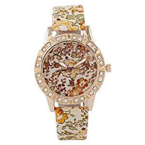 Cosmic Gold and green Flower Strap With Flower Dial Designer Watch For Women