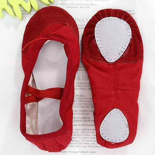 Canvas Ballet Dance Shoes Slippers for kids US Size 12 # 7 Inch - Red