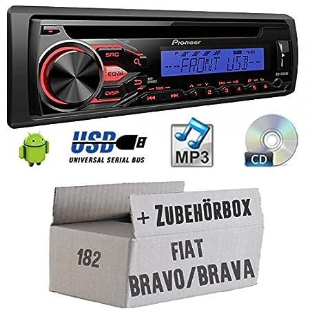 FIAT BRAVO/BRAVA 182-Pioneer deh1800ubb-Kit de montage autoradio CD/MP3/USB -