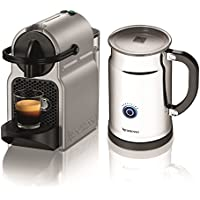 Nespresso Inissia D40 Bundle Espresso Machine with Aeroccino (Silver)