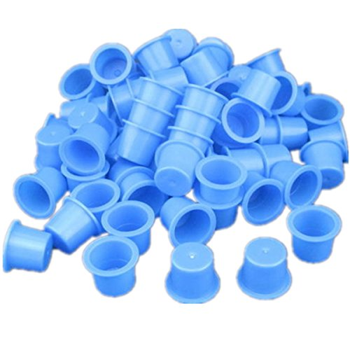 1000pcs Small Size 9mm Plastic Tattoo Ink Cap Cups For Needle Tip Supply (Blue)