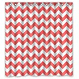 Best Coral and White Chevron Shower Curtain - cover
