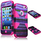 Bastex Heavy Duty Hybrid Case for Apple Iphone 5c - Hot Pink Silicone / Purple & Green Diamond Chevron Tribal Aztec Hard Shell
