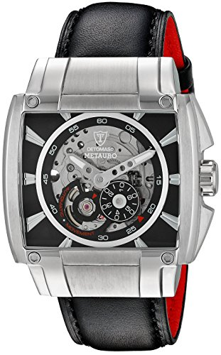 Detomaso Metauro Men's Automatic Watch with Silver/Black Dial Analogue Display and Black Leather Strap DT2048-A